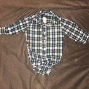 Osh Kosh plaid button up onesie